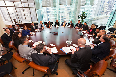 A discussion at the NYER International CEO Roundtable Program photographed by New York Corporate Photographer Jeffrey Holmes.
